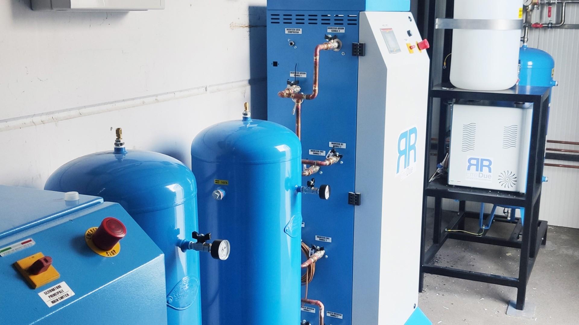 impianto di miscelazione e contabilizzazione gas per saldatura mig, mag e tig